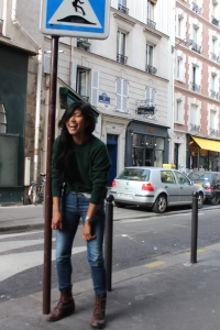 Tired and blurry in front of Ernest Hemingway's flat in Paris.