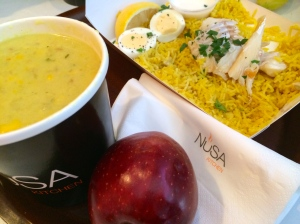 Corn chowder with a side of kedgeree and drool, so good!